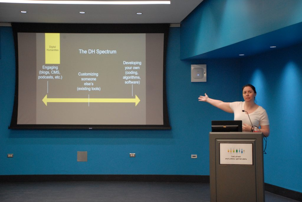 "Photo of Jennifer Guiliano presenting a ""Digital Humanities Spectrum"" slide in her conference ""Preservation and Access: New Trends in Digital Humanities"" at UPR-Río Piedras (2019)"