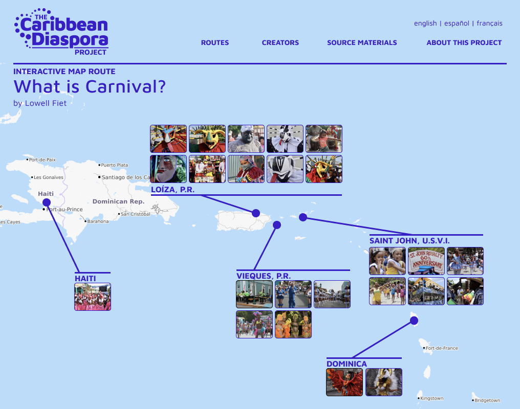 """Screenshot of Lowell Fiet's """"What is Carnival?"""" pilot micro-project as shown in Diaspora Project's Phase 1 Web Design Prototype"""