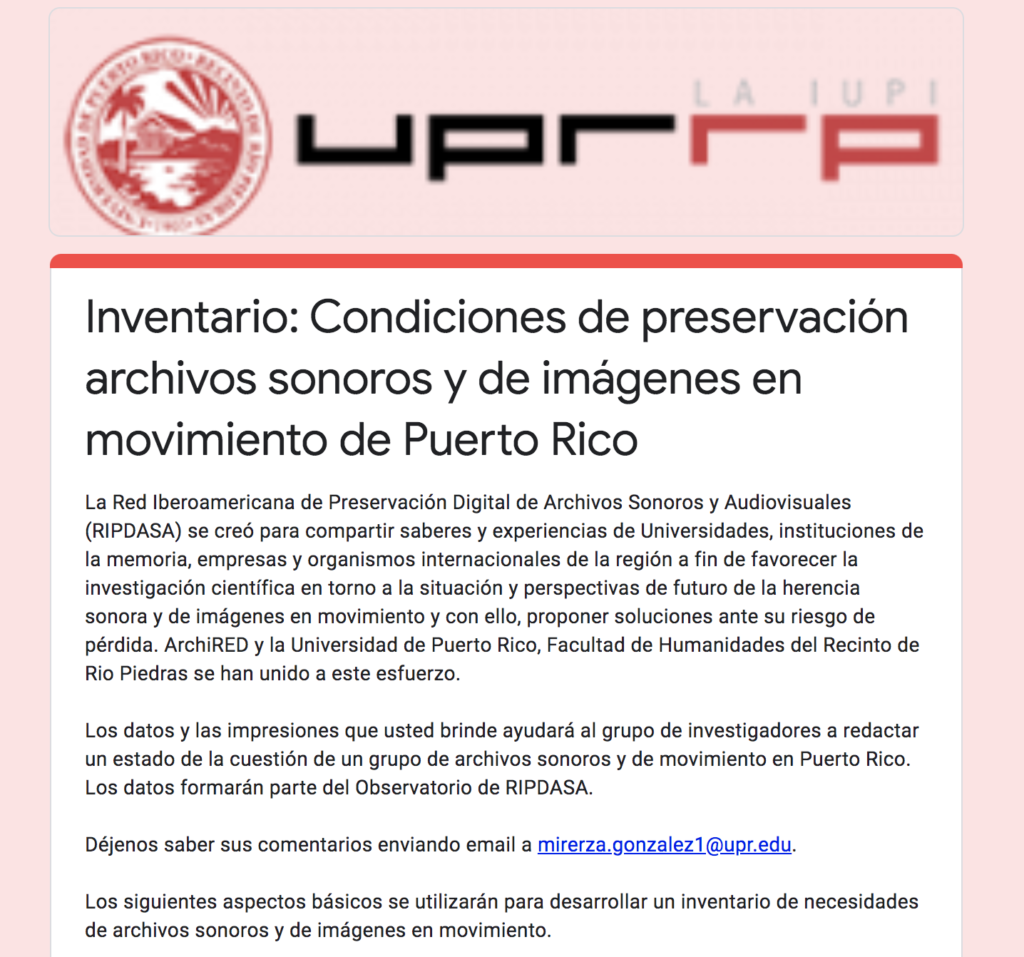 Screenshot of cover page for digital questionnaire developed by UPR-RP to inventory audiovisual archives in Puerto Rico and to assess their preservation conditions.